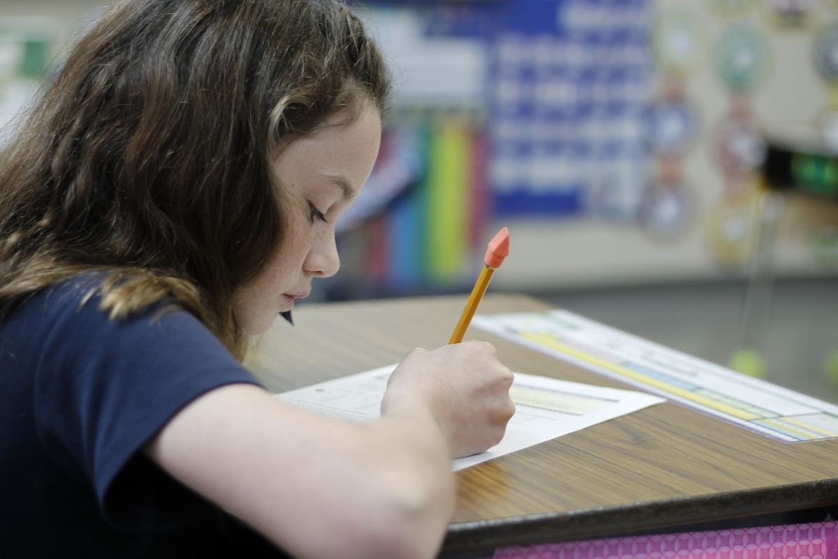 Elementary student completing school work