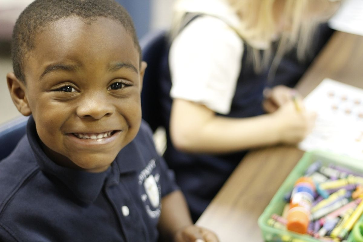 Small boy in preschool class at private Christian school
